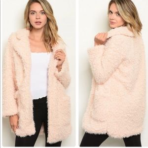 Shop the Trends Blush Sherpa Jacket with pockets